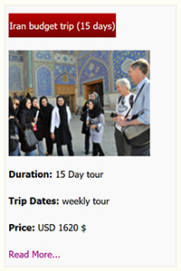 Iran budget tour 15 days